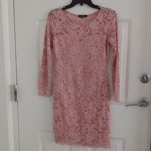 Rose Pink Dress with Lace Detail